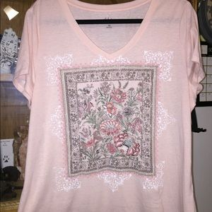 Style & Co Embroidered Floral Tee